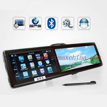 4.3 TFT Touch Button Vehicle Rear View Mirror w/GPS Bluetooth
